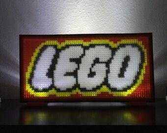 Large glowing LEGO display