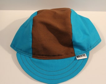 Neon Blue & Brown Handmade Cycling Cap