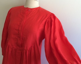 Laura Biagiotti Vintage 80's red linen dress with puffy sleeves