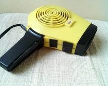 Retro yellow black electric hair dryer- working DDR retro hair dryer 60s
