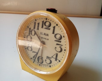 Slava Vintage Soviet Mechanical yellow Alarm Clock made in USSR 1950s