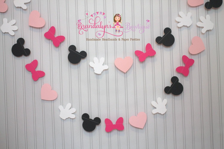 Mickey minnie mouse garland in pink mickey mouse birthday - Cortinas en blanco y negro ...