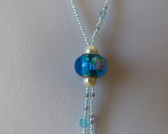 NECKLACE Indonesian Blue sky - blue sky Glass bead - Made in FRANCE