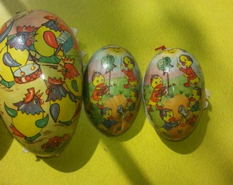 Antique Pre 1918 Various Paper Mache Nesting Easter Eggs Made in West Germany Lot of FOUR RARE!!