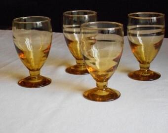 set of 4 vintage amber glass water goblets - Water Goblets