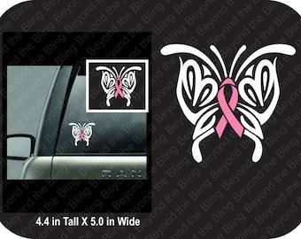 Breast cancer ribbon decal pink ribbon butterfly decal vinyl breast cancer awareness ribbon decal breast cancer pink ribbon butterfly decal