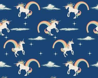 Riley Blake Unicorns and Rainbows on Navy cotton