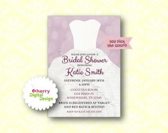 purple black u0026 white printable or printed wedding dress bridal shower invitations wedding shower