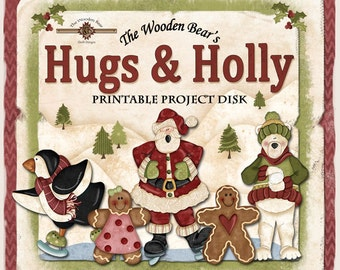 Hugs & Holly Christmas Printables Disk- 6 Character Sets Included- Santa, polar bear, penguin, gingerbread girl and boy, Merry Christmas.