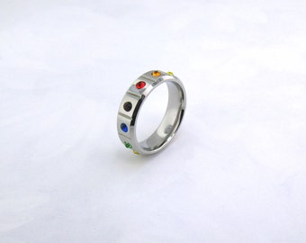 Stainless Steel Cubic Zirconia Rainbow Ring.Available in sizes: 6 - 11