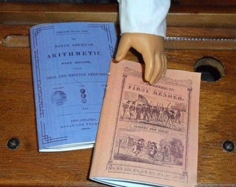 """Printable Historical Books for Kirsten Cecile Marie-Grace:  18"""" American Girl Doll Accessories Pioneer 1850s School Supplies"""