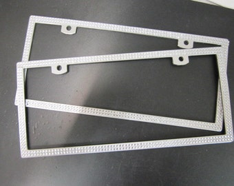 2 Bing silver rhinestone aluminum license plate frame.  For all cars or truck.