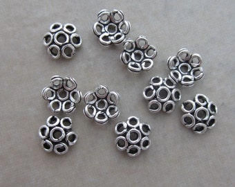 20 oxidized sterling silver bead caps for 6mm