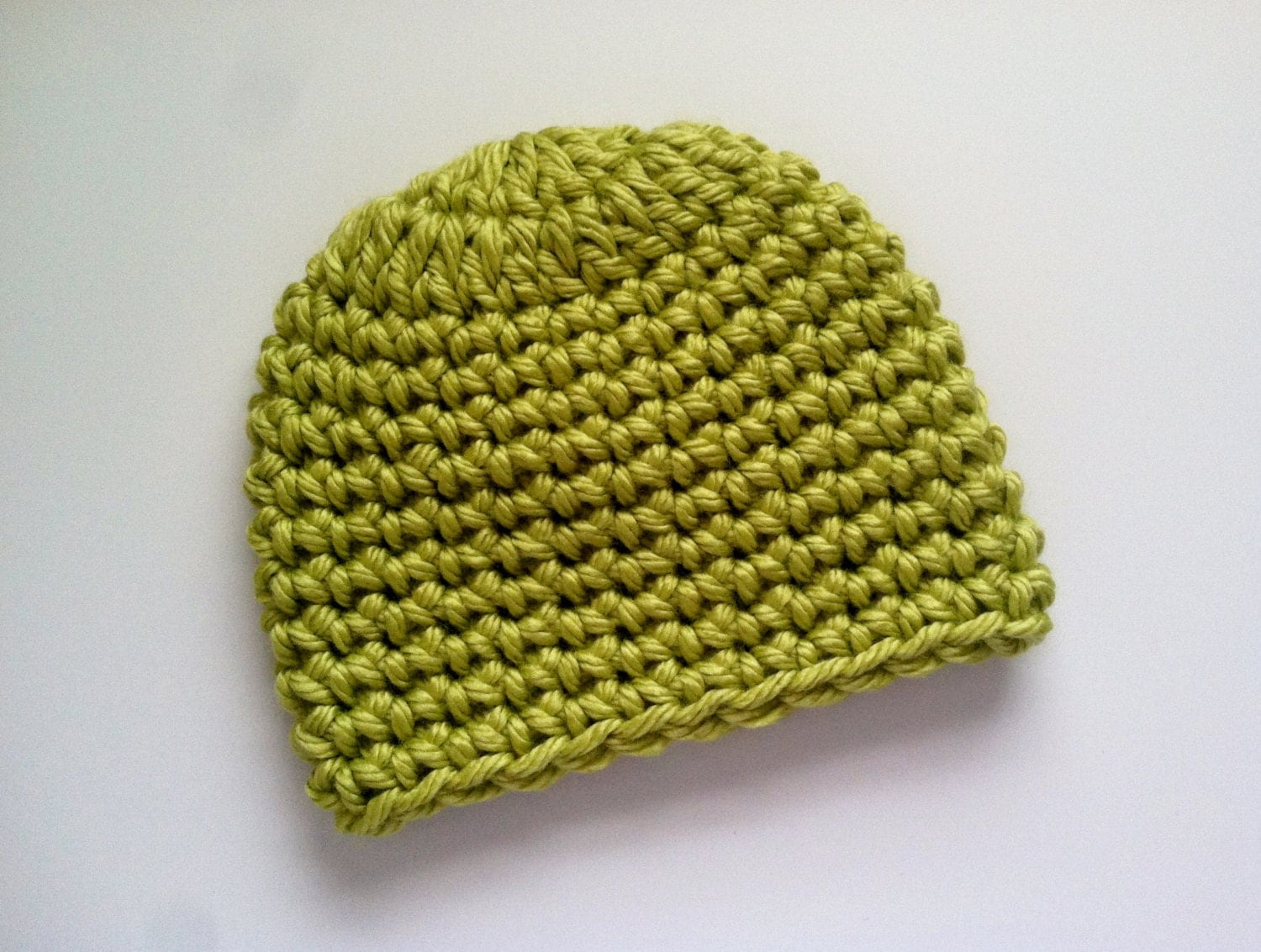 Crochet Baby Hat Pattern With Super Bulky Yarn : Crocheted Lime Green Super Bulky Hat Chunky Beanies Unisex