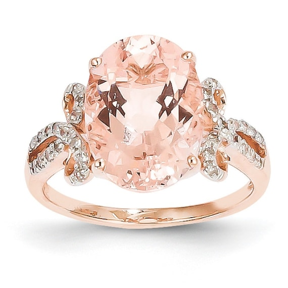 14 kt rose gold diamond and morganite anniversary engagement stackable ring