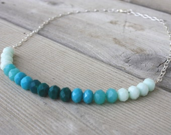 Nicole Necklace - Teal Ombre Glass Bead Necklace