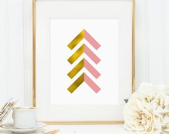 Gold foil and pink chevron arrows, printable wall art decor, faux gold foil art, arrow art for office, bedroom decor, digital download JPG