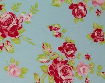 FQ _Tanya Whelan Darla _ Darla Rose in Aqua  , OOP VHTF Free Spirit Fabric_Fat Quarter