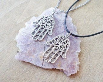 SALE Silver Fatima Hand Necklace