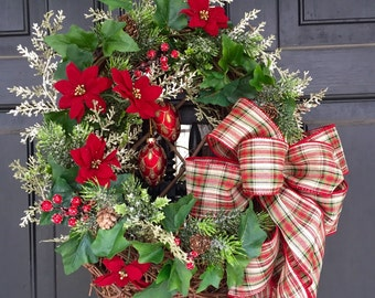 REDUCED!! Christmas Holidays Flat Door Basket Greens Berries Plaid Bow Ornaments