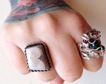 Landscape Jasper + Sterling Silver .925 Statement Ring  Sz 9