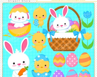 Cute Bunny Clipart Set - For Commercial and Personal Use Cliparts