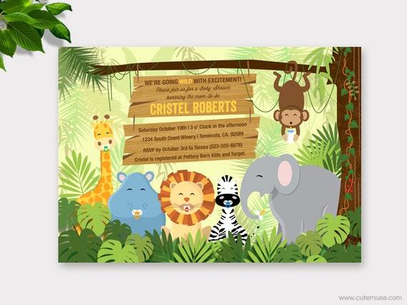 jungle baby shower invitation printable safari baby shower, Baby shower invitations