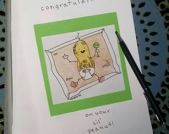 Baby shower card, congratulations card, baby card,baby, baby shower, peanut