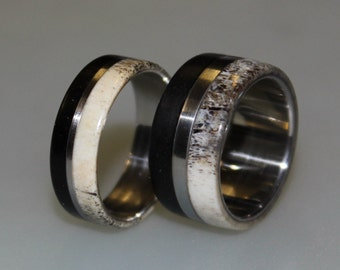 Titanium Ring Set, Titanium Wedding Band Set, Deer Antler, Antler Ring, Wooden, Wood Ring, Wedding Ring, Wedding Rings