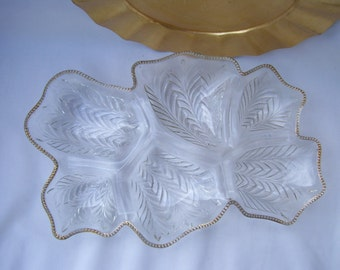 Large Glass Clear 6 Section Divided Platter Mid Century Serving Tray