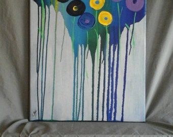 Abstract  Art. Spring Flowers. Original  Acrylic  Fine  Art  Painting  by  Jodilynpaintings. Large  18x24 stretched  linen  canvas.