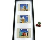 Classic seaside images framed wall art, customised, summer holiday memories, beach huts, ice cream, sand castle