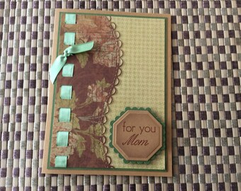 Handmade Greeting Card:  Mother's Day card with laced ribbon