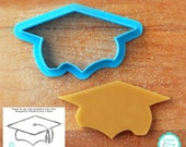 Graduation Cap with Incorporated Tassel Cookie Cutter -  Three Sizes - **Guideline Sketch To Print Below**