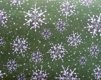 Green Christmas Flannel Fabric, Maywood Studio 16007 Fresh Fallen Snow, Snowflake Flannel, Winter Flannel, Maywood Flannel, Holiday Flannel