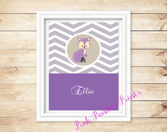 Personalized Purple Fox Name Print