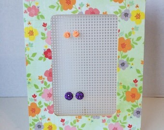 Jewelry Organizer, Floral Picture Frame Earring Holder