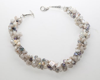 Grey agate with Pearls Crocheted Statement Necklace
