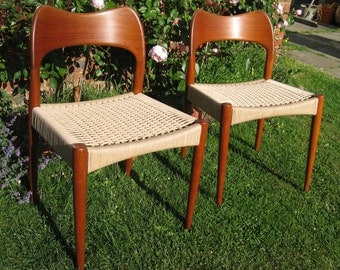 Arne Hovmand-Olsen Danish cord dining chairs.  Sensible offers considered