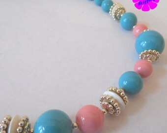 Vintage Pink and Blue Beaded Necklace
