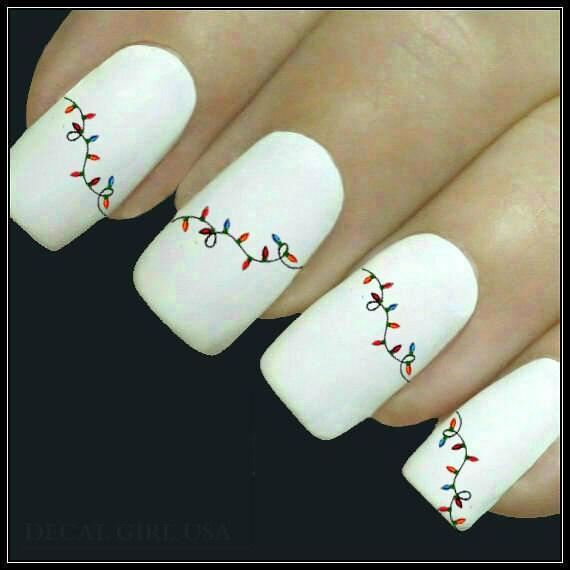 Christmas Finger Nail Art: Christmas Nail Decal Christmas Lights Nail Art Water Slide