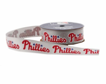 Offray MLB Philadelphia Phillies Fabric Ribbon, 7/8-Inch by 9-Feet, White/Red