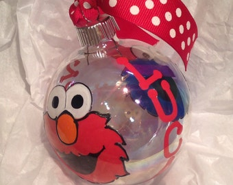 Sesame Street Elmo & Cookie Monster Theme Hand Painted Christmas Tree Ornament  - Personalized - GREAT GIFT!!