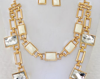 Cream Crystal and Gold Necklace and Earring Set
