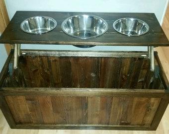 Rustic raised dog feeder with storage, three bowl raised dog feeder, Elevated dog feeder with 3 bowls