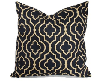 Pillow cover, 16x16, Throw pillow, Decorative pillow, Toss pillow, Sofa cushion, Couch pillow, Gold pillow, Ink blue pillow