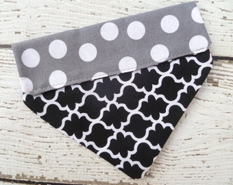 Dog Bandana,  Dog Scarf, Dog Clothes Small, in black, modern print and Grey Polka Dots