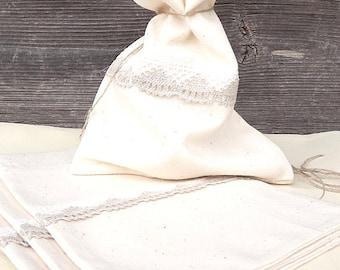 Large Linen Bag,Linen Bag With Lace And Linen Twine, Favor Bags, Wedding Favor Bag, Rustic Wedding Favor, Linen Bag For Tea Or Gift