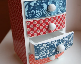 Decoupage wooden box, commode, decorated wood box, wooden gift, jewelry box, keepsake box, storage