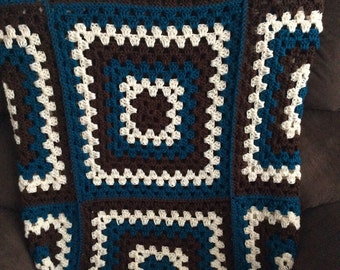 Chocolate and Teal Granny Square Afghan